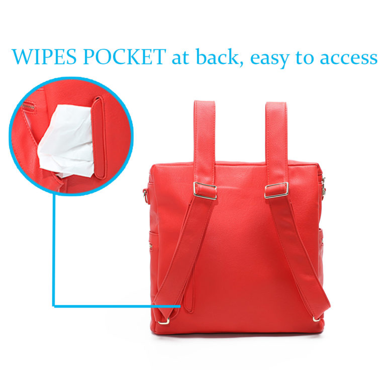 miss fong diaper bag red-Wipes Pocket