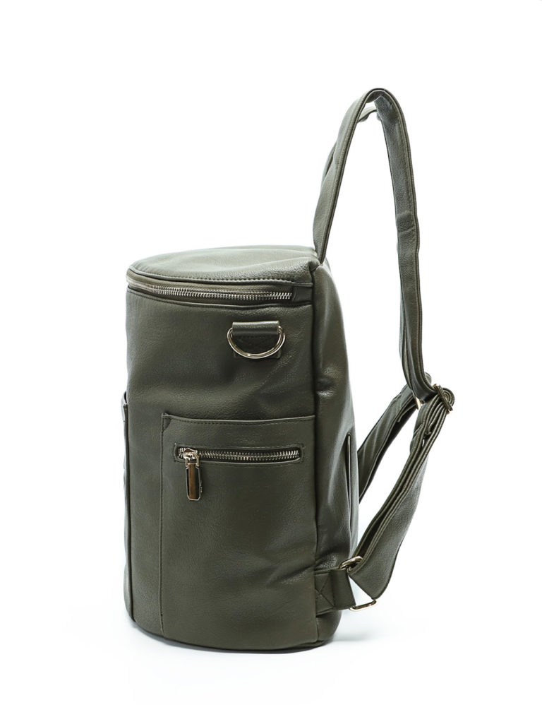 miss fong diaper bag olive-side bottle pocket
