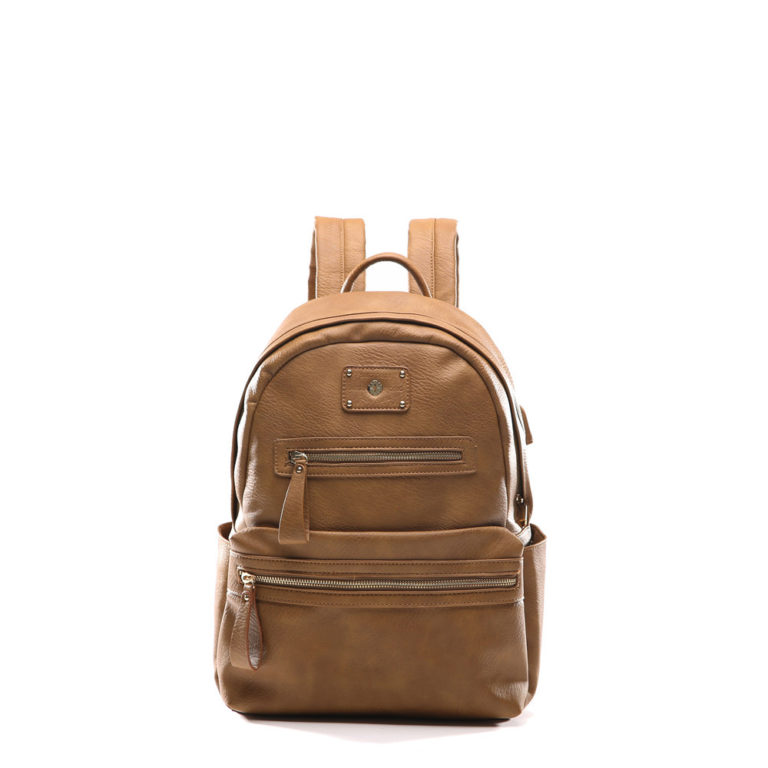 women backpack with USB charger(Browm)