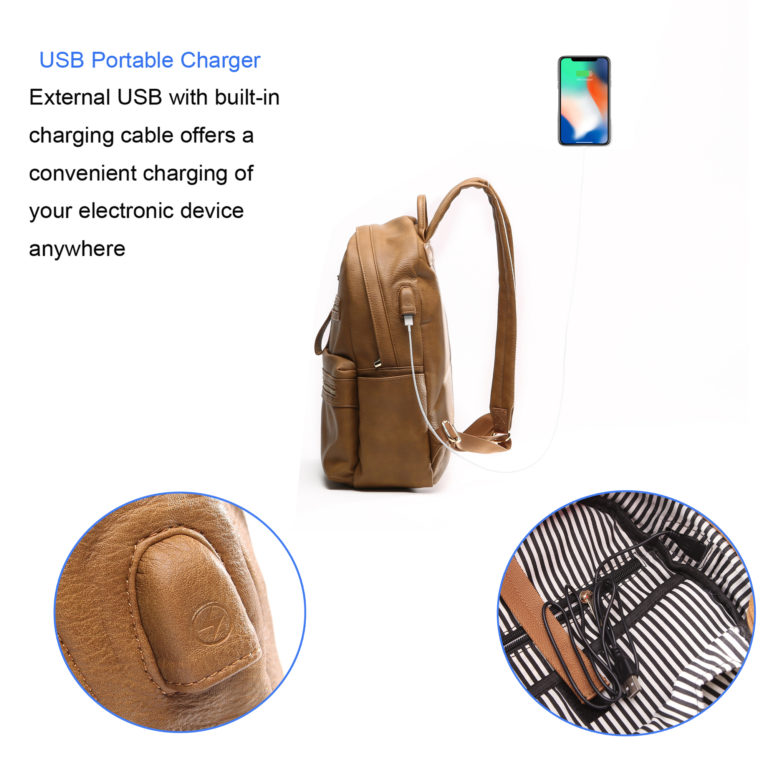 miss fong women backpack with USB charger(Browm)