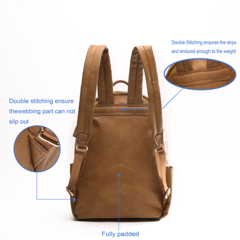 miss fong women backpack with padded back(Browm)