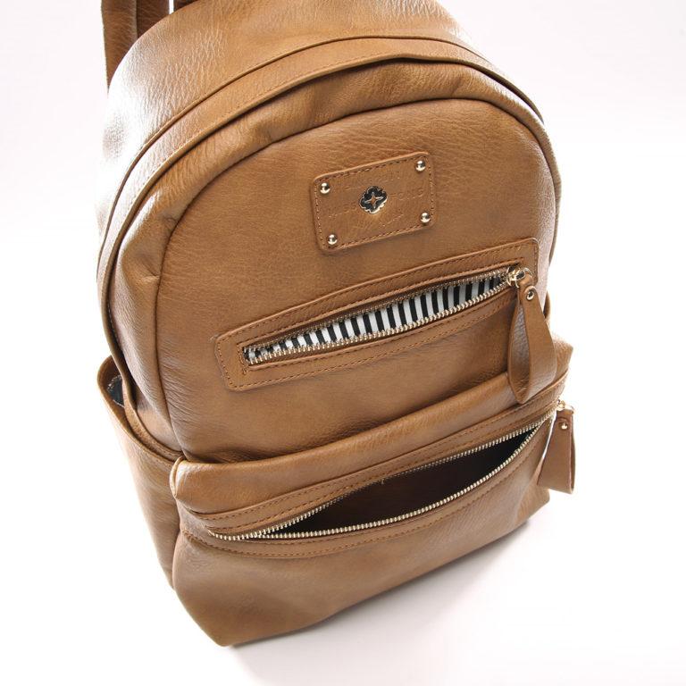 miss fong women backpack with zipper pockets(Browm)