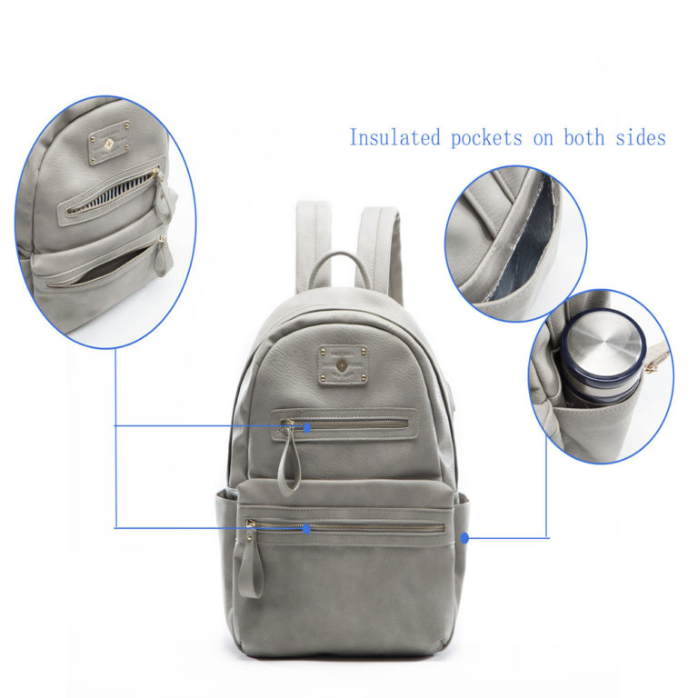 miss fong women backpack with insulatd pocket(Grey)