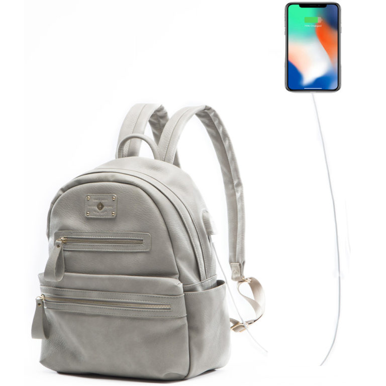 miss fong women backpack with USB charger(Grey)