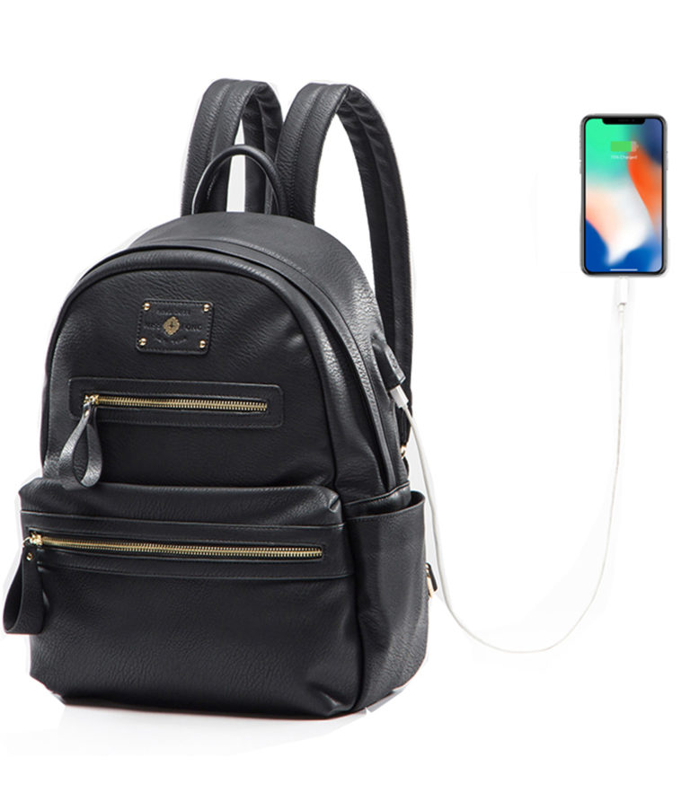 miss fong women backpack with USB charger(Black)