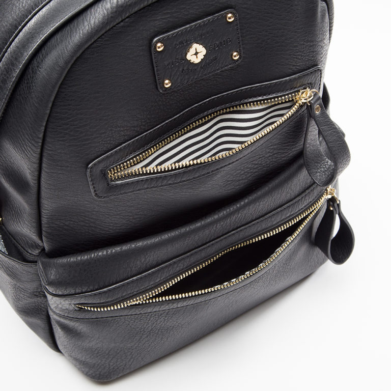 miss fong women backpack with zipper pockets(Black)