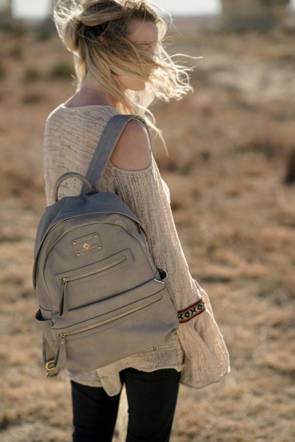 backpack purse grey