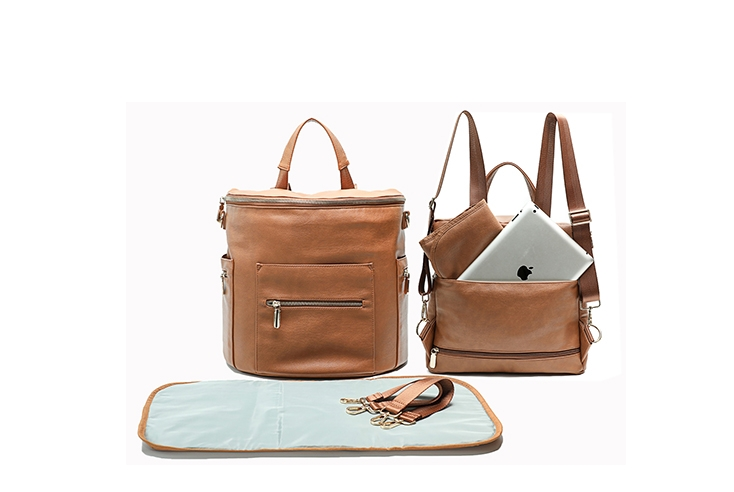Miss Fong Leather Diaper Bag Backpack Brown New Convertible