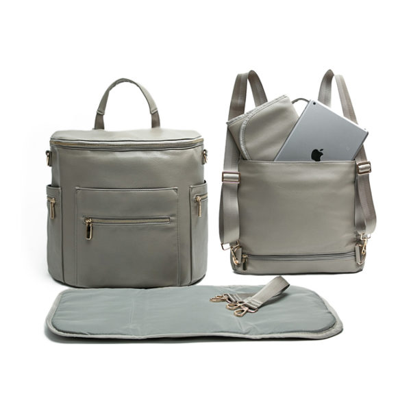 leather diaper bag backpack grey