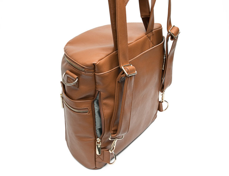 leather mummy bag with detachable strap