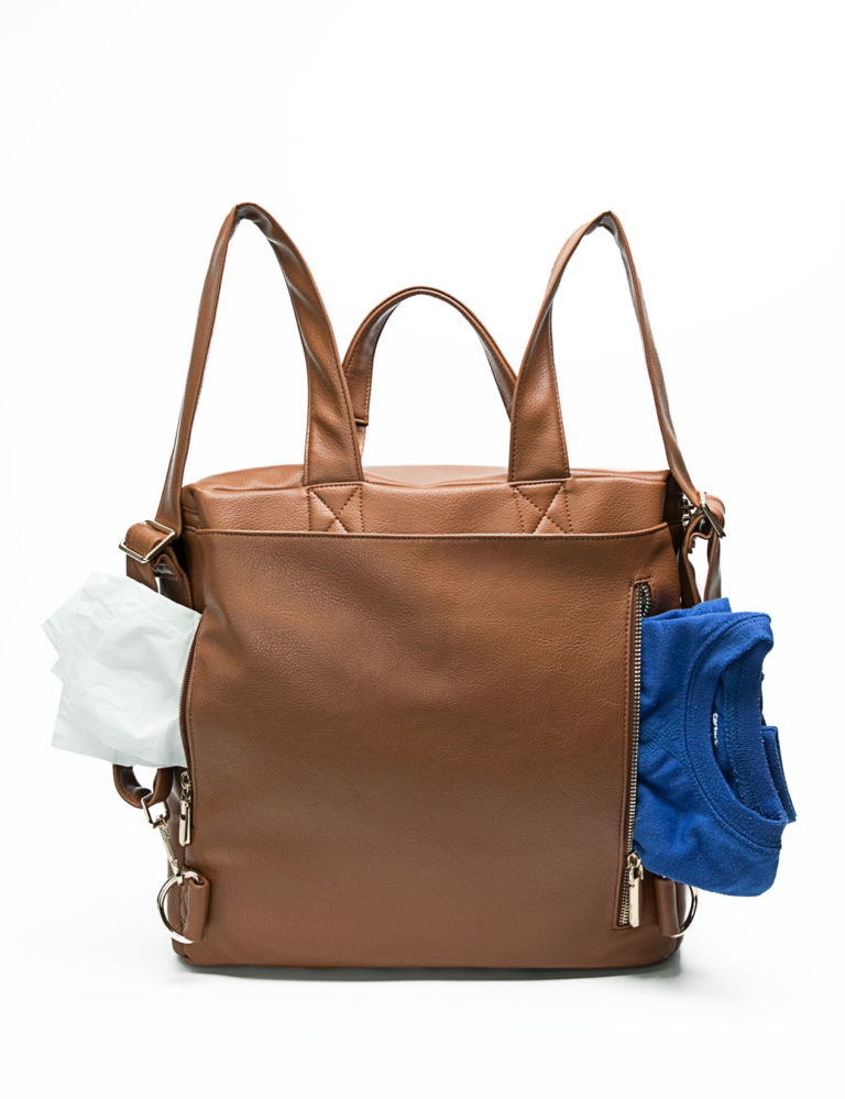 leather baby bag with back pockets