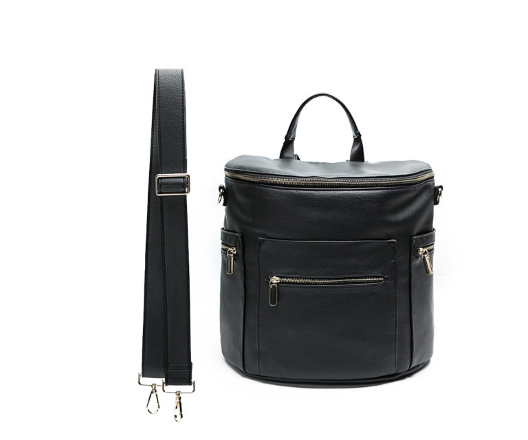 Miss Fong Leather Diaper Bag Backpack (New-Black Regular)
