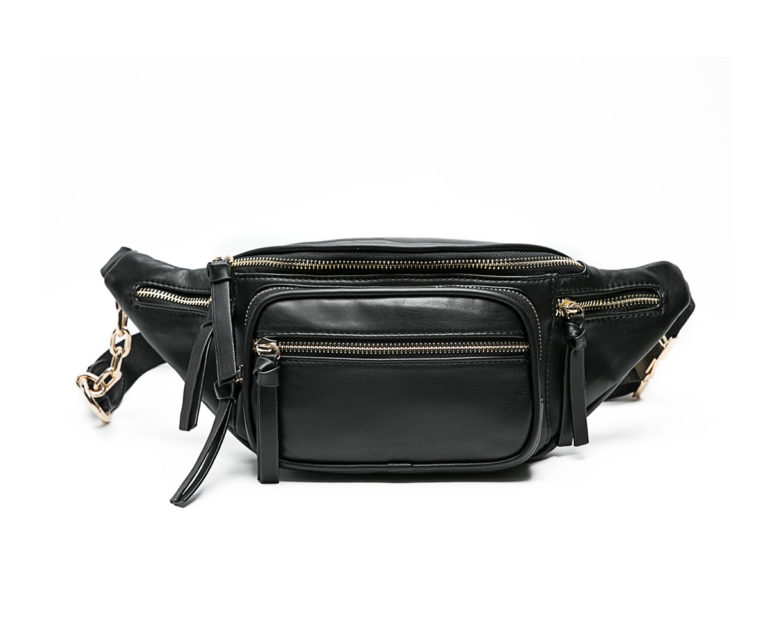 black leather fanny bag