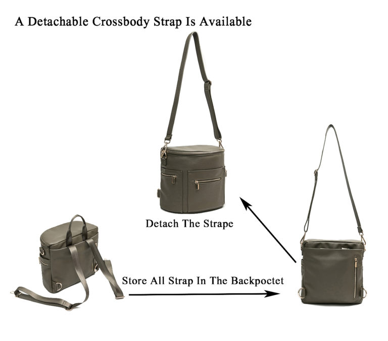 A detachable crossbody strap is available