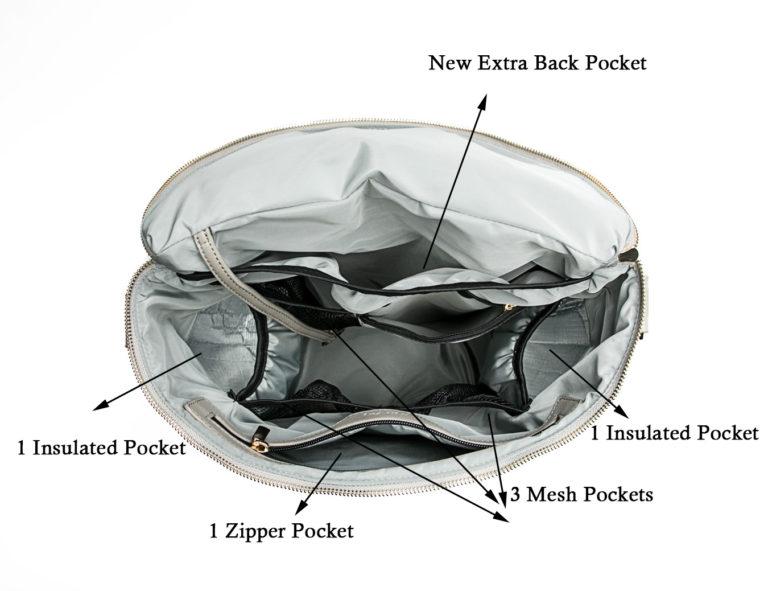 Leathe diaper bag in bag organizer-Black