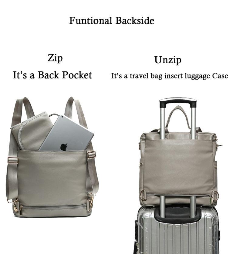 Leather Diaper Bag Backpack with back pocket