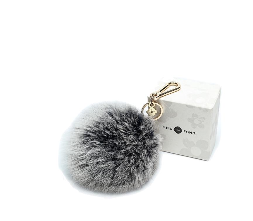 Grey With White Fox Fur Pom Pom Keyring