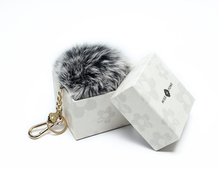 the best quality fox fur with good quality keyring( Grey-Large)
