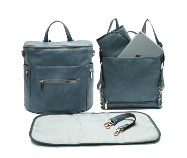 leather diaper bag backpack-blue
