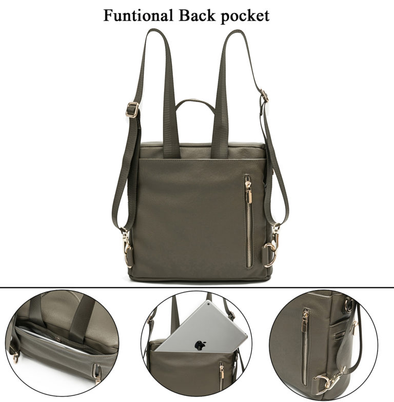 Leather Diaper Bag with backpocket