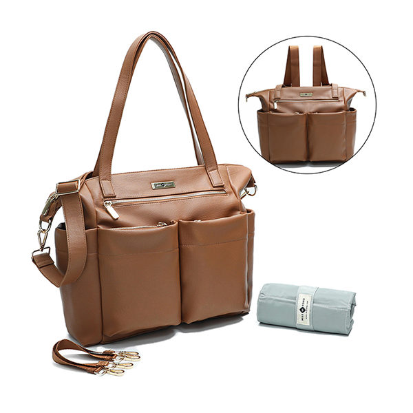 miss fong leather diaper bag tote brown