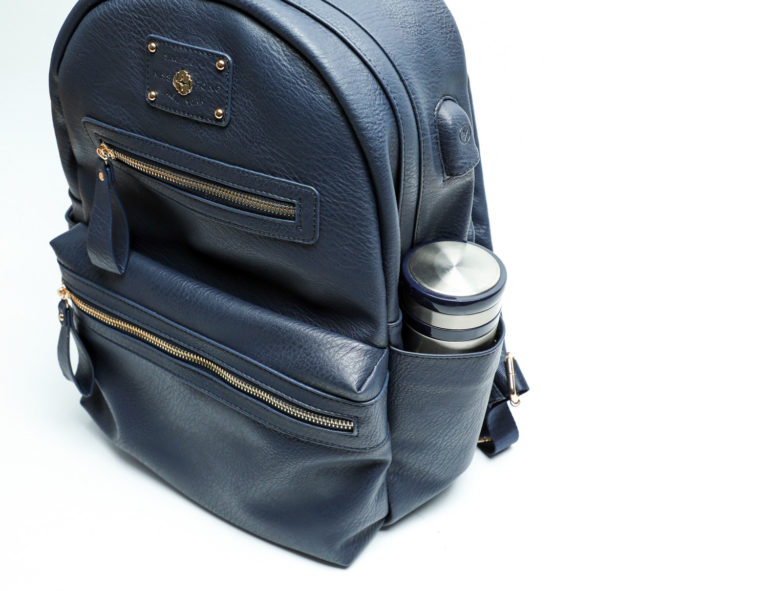 leather diaper bag backpack with insulated pocket