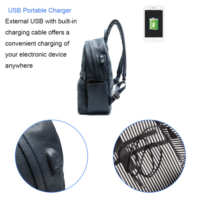 leather backpack for women with usb charger