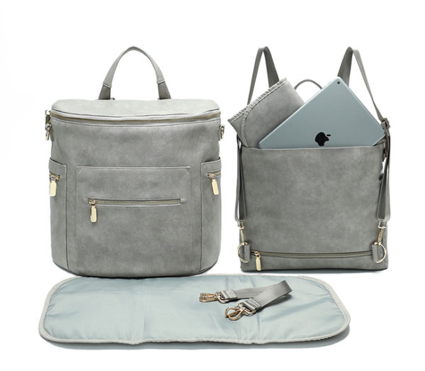 faux leather diaper bag-rusty grey