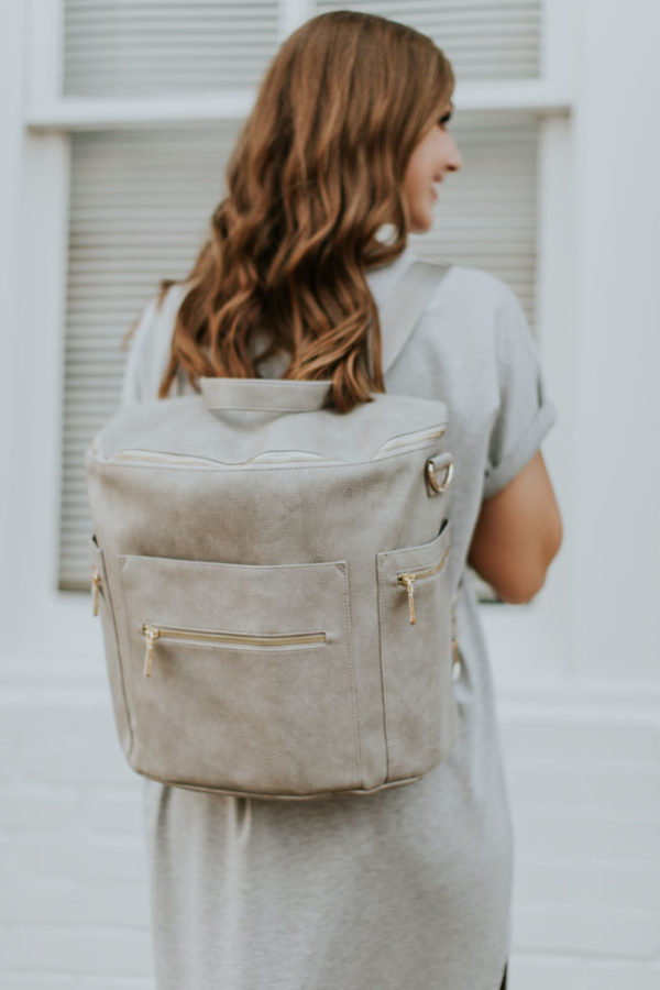 diaper bag leather rusty grey