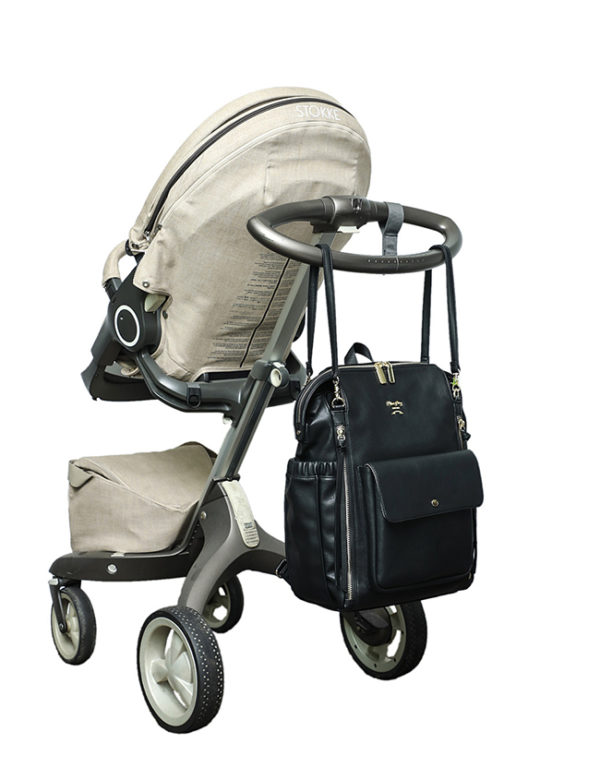 diaper bag with stroller straps love and peace black
