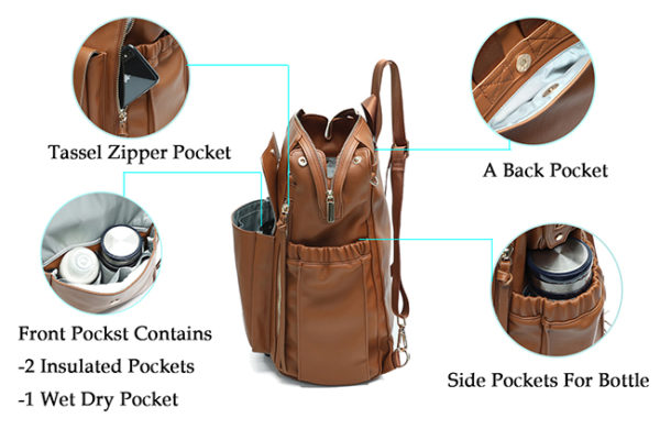 diaper bags backpack leather love and peace brown