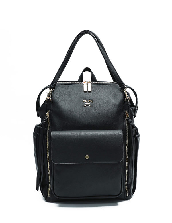 faux leather diaper bag black