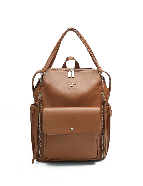 fauz leather diaper bag brown