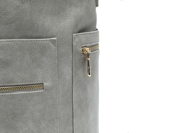 fauz leather diaper bag rusty grey