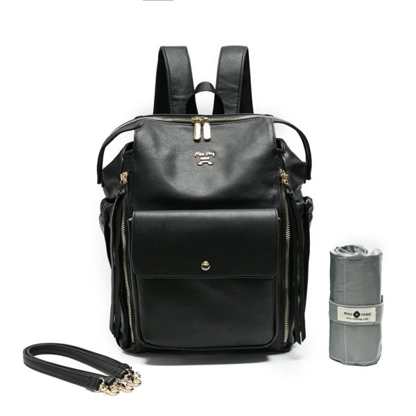 diaper bag by miss fong love and peace black