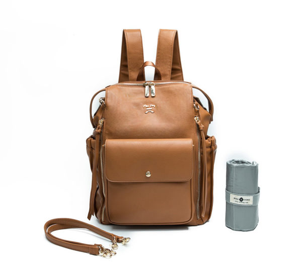 diaper bag by miss fong love and peace brown