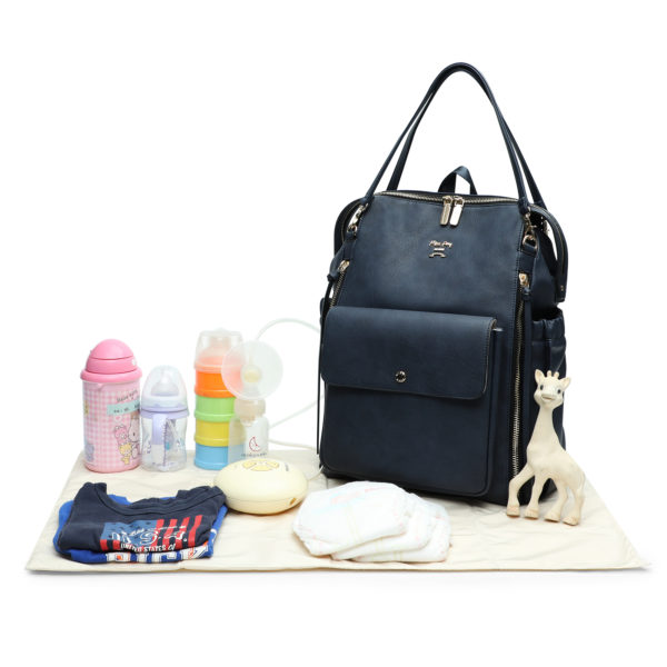 diaper bag with changing pad love and peace-Navy