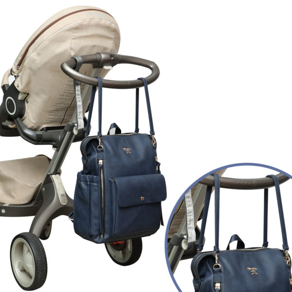 diaper bag with stroller straps love and peace-Navy