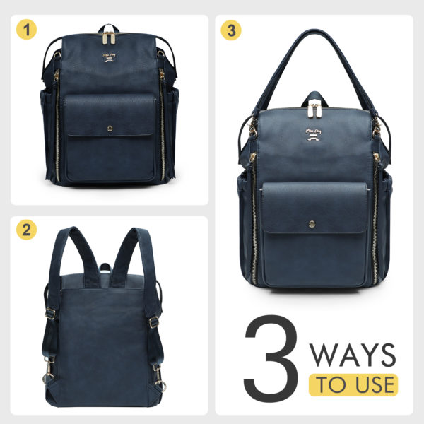 diaper bags backpack leather love and peace-Navy