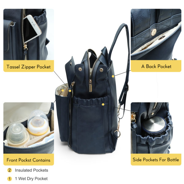 diaper bag by miss fong love and peace-Navy