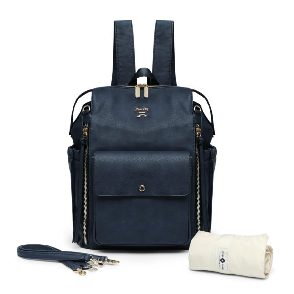 faux leather diaper bag-Navy