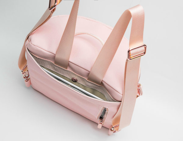 mini diaper bag backpack with back pocket-Pink Rose