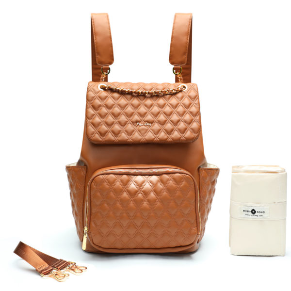 eather Diaper Bag by miss fong(Diamond Brown)