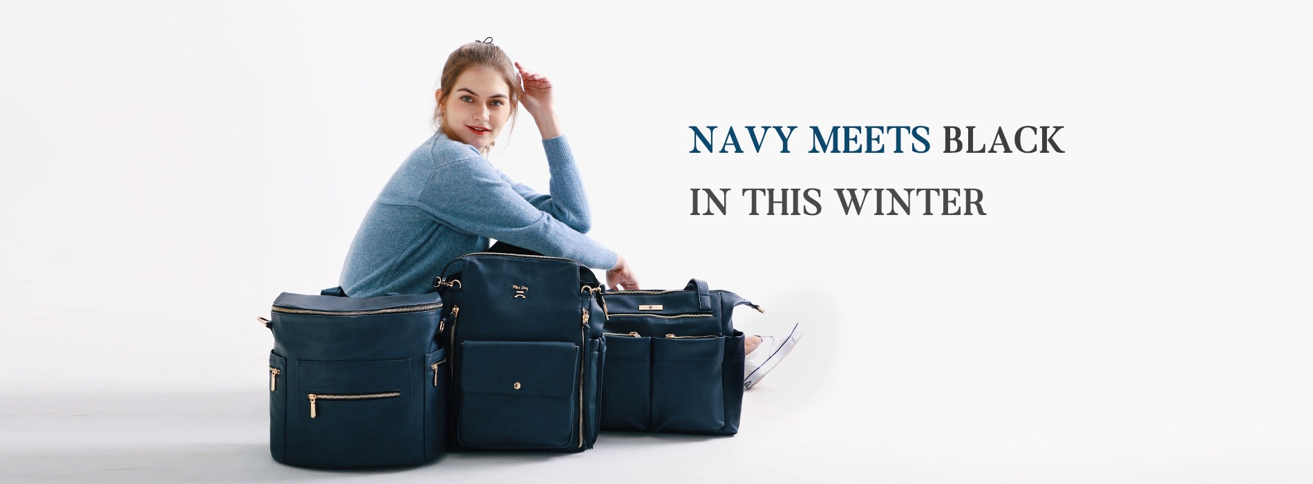 leather diaper bag navy blue