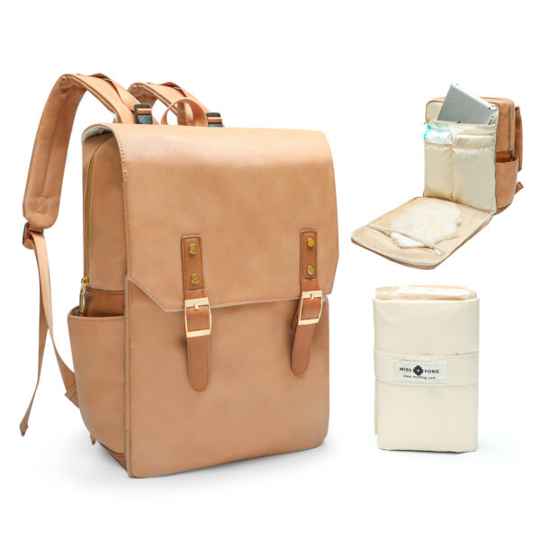Leather Diaper Bag Backpack with Chaning Pad