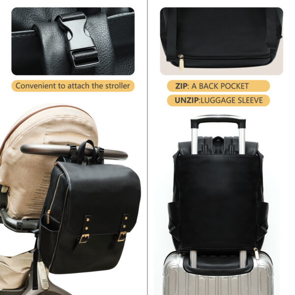 Leather diaper bag with stroller straps by miss fong