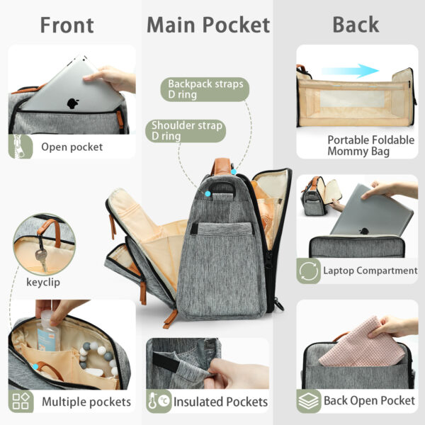 Multiple Pockets by miss fong diaper bag