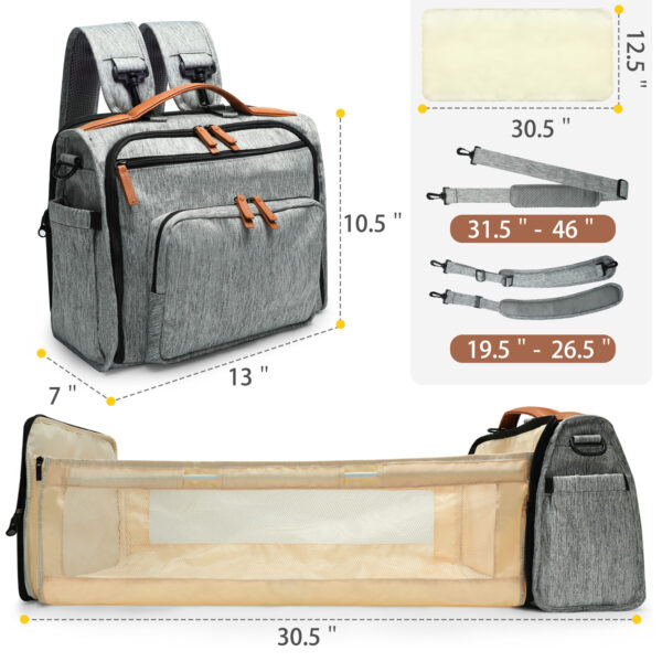 miss fong Diaper Bag Backpack with Bassinet Bed Mat Pad